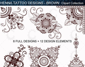 Henna Tattoo Designs Mehndi Designs In Gold Clipart Etsy