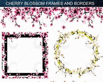 16 Cherry Blossom/Sakura Borders and Frames in Pink and White