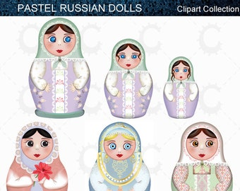 Russian Dolls, Matryoshka Dolls, Babushka Dolls - Pastel - Vector Clipart Collection