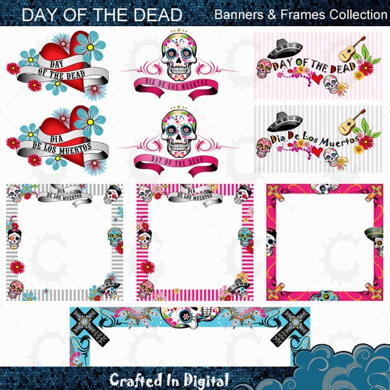 Day Of The Dead Frames And Banners Collection Etsy