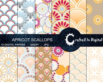 Apricot Scallops & Flowers - Digital Paper Collection 12x12