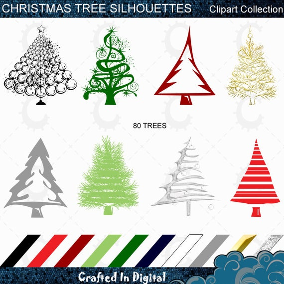 Christmas Trees Silhouette.80 Modern Christmas Tree Silhouettes Clipart Collection