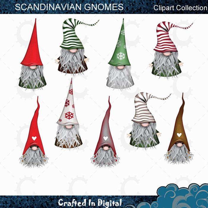 9 scandinavian christmas gnomes tomte nisse santa elf clipart collection - Christmas Gnome