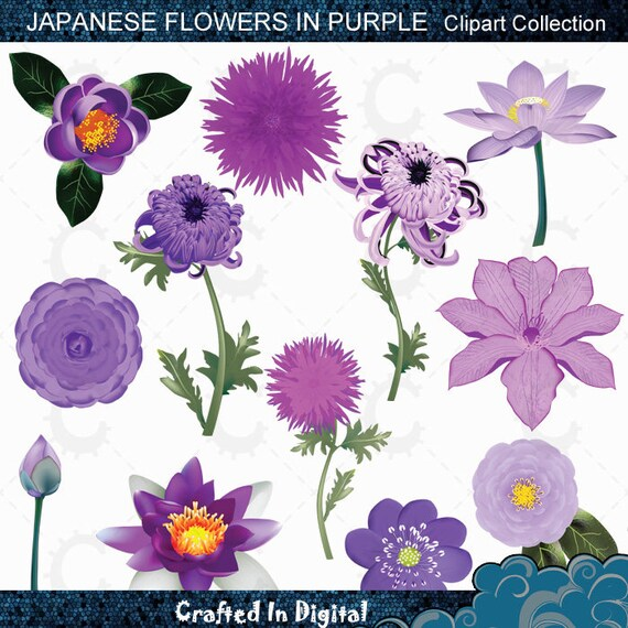 purple japanese flower clipart collection etsy