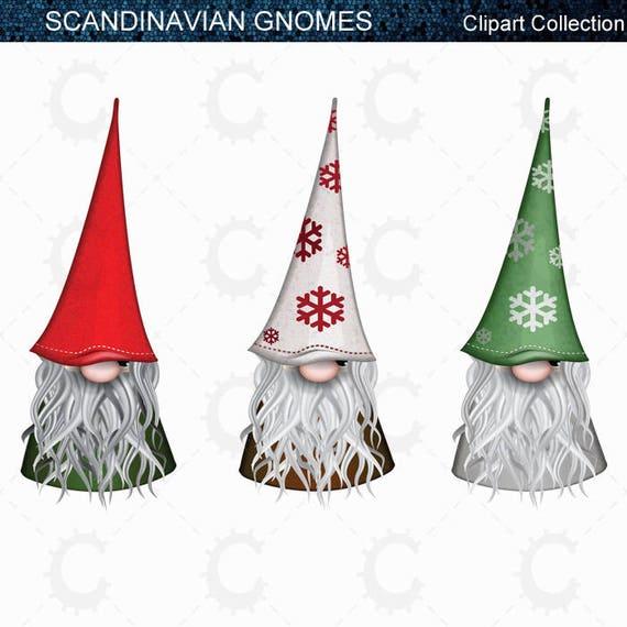 Christmas Gnomes.9 Scandinavian Christmas Gnomes Tomte Nisse Santa Elf Clipart Collection
