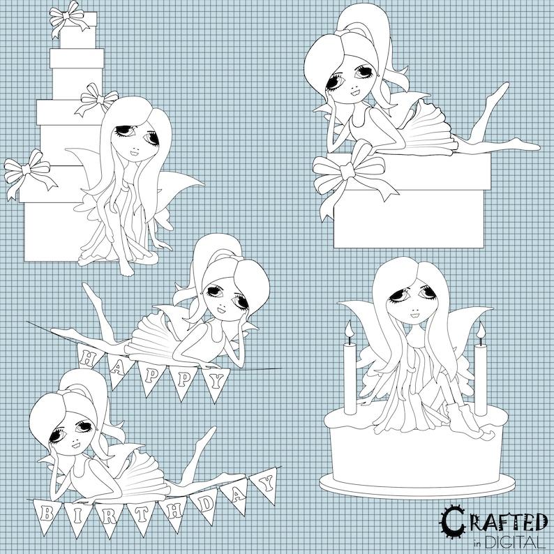 Birthday Fairies Digital Stamps 9 Black /& White Birthday Fairy Digistamps