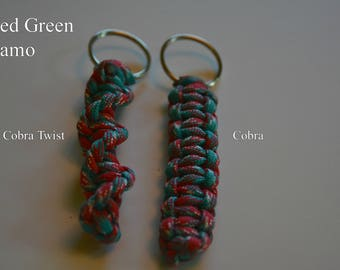 Paracord Keychain - Red Green Camo
