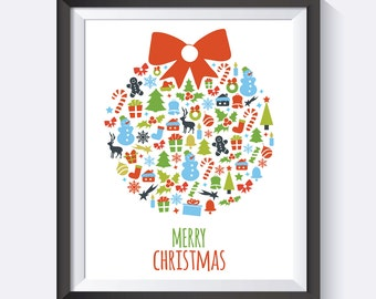 Christmas Print, Digital Download, Snowman, Merry Christmas, Christmas Art, Prints, Christmas wall art