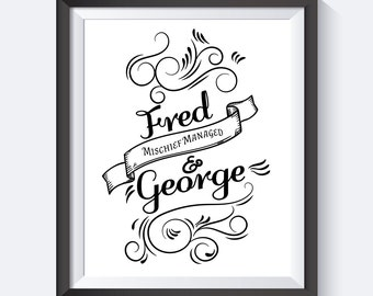 Mischief Managed, I Solemnly Swear That I Am Up To No Good, Wizard School, Typography, Fred & George , Instant Download, Digital Print