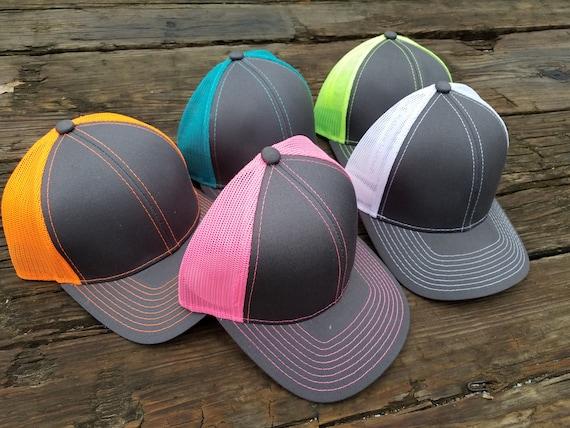 ee720158bd5 Monogrammed Neon Trucker Hat