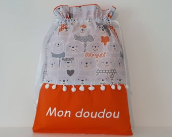 In stock-Bag to doudou personalized cotton cubs gray and orange / gift birth personalized