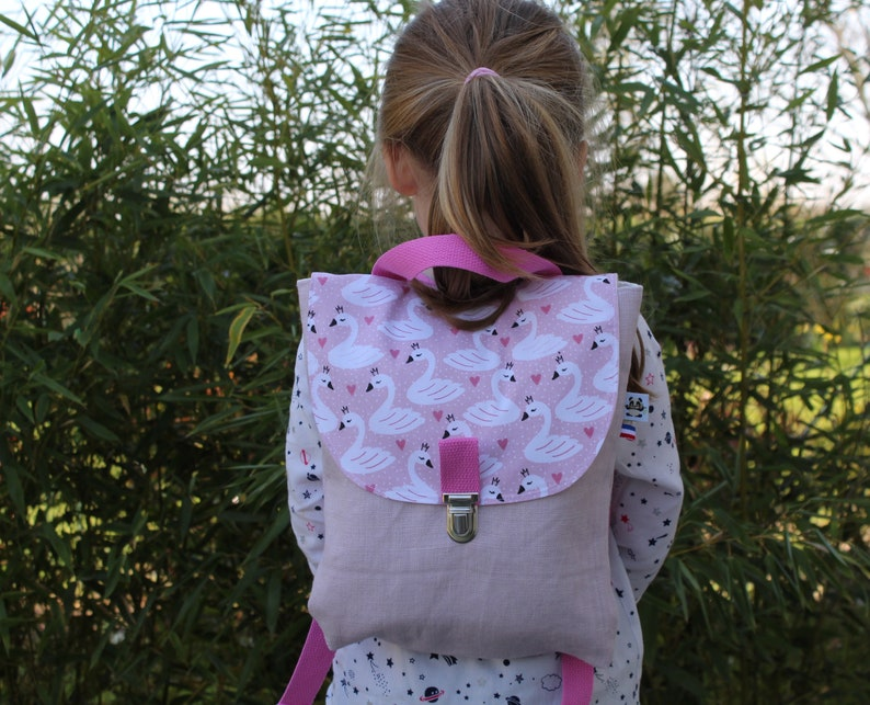 Unicorn backpack for customizable girl with name in pink French linen Children/'s backpack for school or nursery