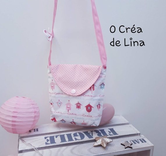 765df78cb5 Personalized girl shoulder bag houses Pink white polka