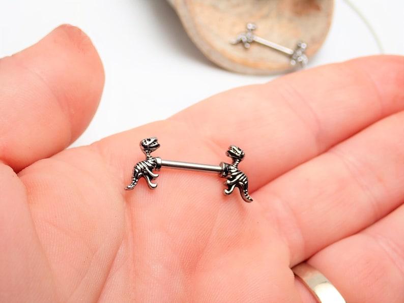 12/'/'   1.6mm barbells surgical steel barbell 12mm 14G Mini Trex dinosaur nipple ring barbells