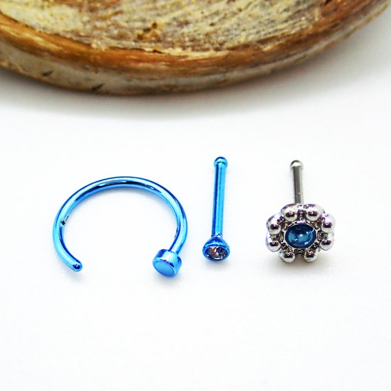 20g 0 8mm 3 Piece Nose Ring Set Blue Hoop Blue Clear Etsy