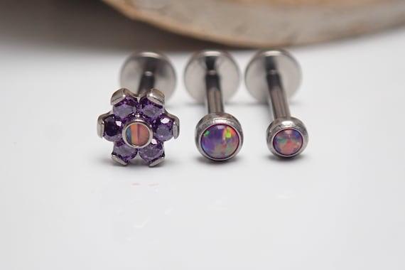 3 Set Implant Titanium Internally Threaded Royal Lavander Opal /& CZ Flower Gem Triple Forward Helix,Helix,Tragus,Conch,Cartilage Ring