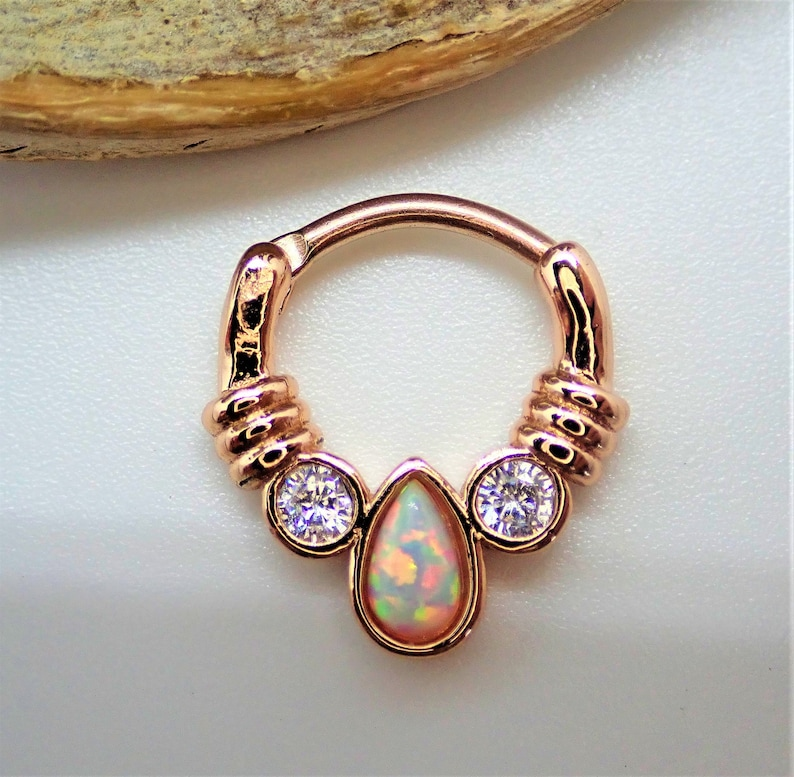 8mm Ip Rose Gold Surgical Steel Gold Plated Clicker Ring 16g Etsy