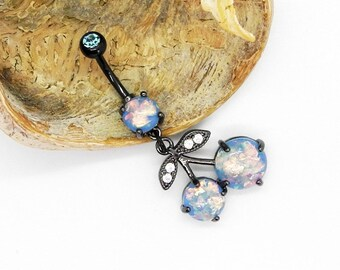 Cherry Blue Belly ring 14g fire opal dangle black anodised Titanium surgical steel