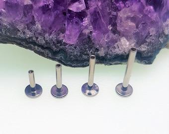Internally Threaded Flatback 14g Labret Stem Post Bar ( Lip, Ear, Cartilage, Helix, Conch, Medusa, Monroe, Tragus )