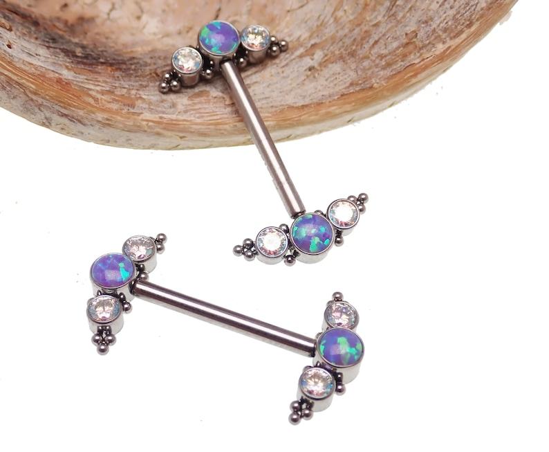 14g  Titanium Sleepy Lavender Fire Cabochon Opal Stone Cluster Nipple Rings