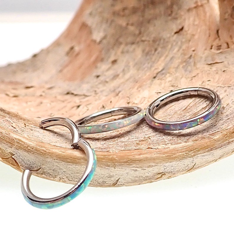 16g Inlaid Opal Surgical Steel Hinged Clicker Segment Hoop Ring Lip, Septum, Daith, Tragus, Nose, Helix, etc...