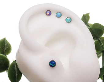 titanium  threadless push fit 4mm opal flat back 18g ,16g  or 14g (sold in singles)