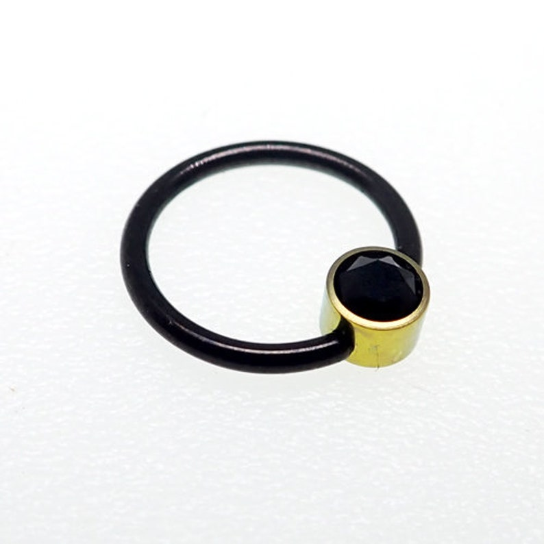 16g Black and gold Implant titanium ASTM F136 BCRCBR  with onyx black stone ring custom anodized any color