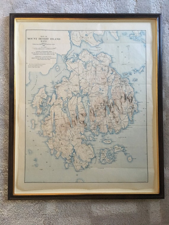 Topography Map Of Maine.Rare 1896 Topography Map Of Mt Desert Island Maine Etsy