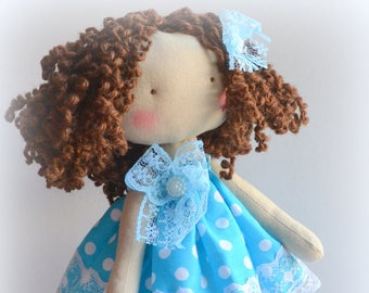 Doll rag  My first doll little Doll  Textile doll Rag doll Little doll First toys Gift  birthday  Valentine's day Curl doll Doll girl