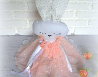 Rag bunny textile toys Fleece toy Bunny fleece Bunny girl My first toys Bunny gift Bunny interior My first Birthday
