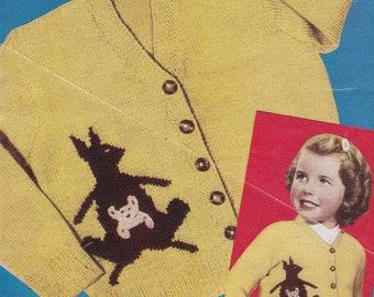 Child's Kangaroo Design Cardigan in 3 Ply - Vintage Knitting Pattern - Weldons B1437
