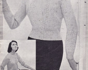 c43398281bda6 PDF - Vintage Knitting Pattern for Lady s Sweater and Cardigan - Patons 539