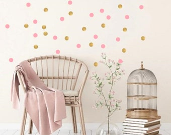 Golden And Pink Dots, 184 Wall Stickers, Nursery Stickers, Decal Kids Room,  Nursery Wall Decals, Decal For Girlu0027s Room, Childu0027s Room Decals