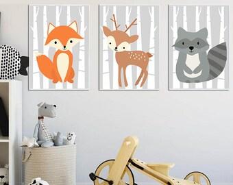 Plakaty Do Pokoju Dziecka Zwierzęta Leśne Dla Dziewczynki Etsy