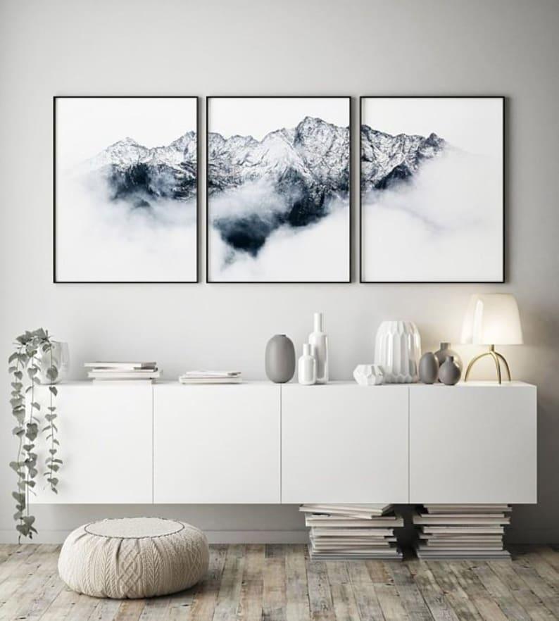 Set of 3 prints Mountains wall art Alps photo  Mountains image 0