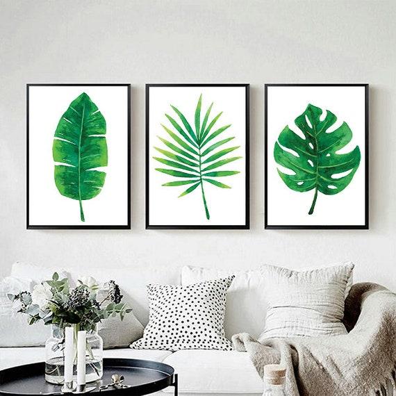 Zestaw Plakatów Botanicznych Plakaty Liście Tropikalne Plakat Monstera Palma Plakat Liście Plakaty Akwarela Plakaty Z Liśćmi Rośliny