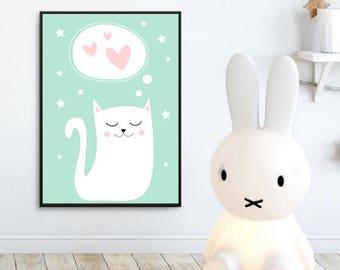 Nursery Wall Art Print, Kids Art Print, Animal Nursery Print, digital Nursery Decor, Cat poster, Kids room, kitten