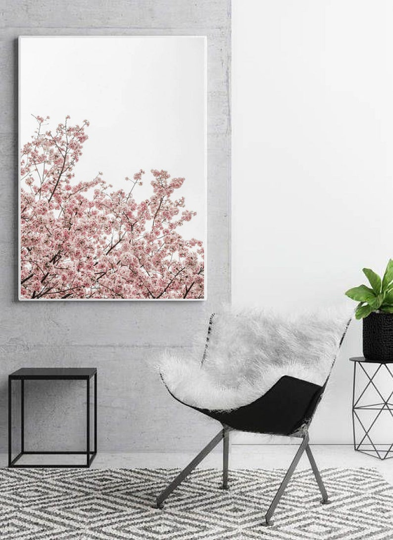Botanical printable wall art pink flowers art print botanical poster modern wall decor nature wall art cherry blossom for bedroom