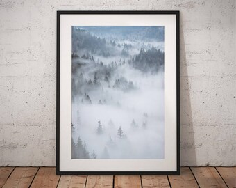 Home Wall Art Print, Forest Art Print, Fog and Forest Poster, Printable Poster, Instant download, digital, gallery