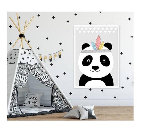 Plakat Pokoju Dziecka Poster Indiański Plakat Miś Panda Plakat Dla Dziecka Plakat Pokój Dziecięcy Plakat Do Pokoju Chłopca Dla Syna