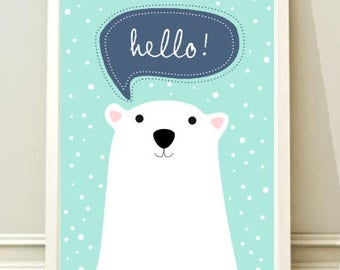Nursery Art Print - Childrens Decor, Baby's Nursery, Kids Wall Art Bear , Instant download,Printable poster,kids room