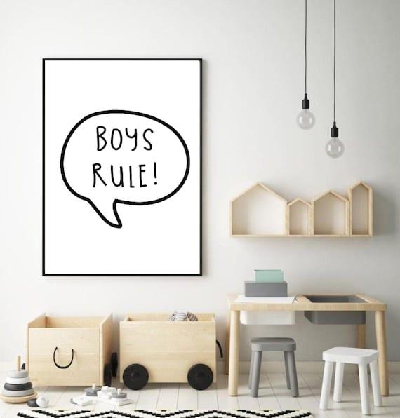 Plakat Do Pokoju Dziecka Plakat Dla Chłopca Plakat Pokój Dziecka Plakat Dla Dziecka Prezent Dla Chłopca Boys Rule Plakat Dla Syna