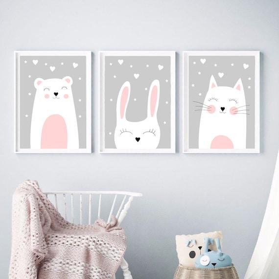 Drei Poster, Kinderzimmer poster, Drucke kinderzimmer, Tiere poster,  Kinderzimmer bilder, Madchenzimmer bilder, Poster Madchen, geschenk