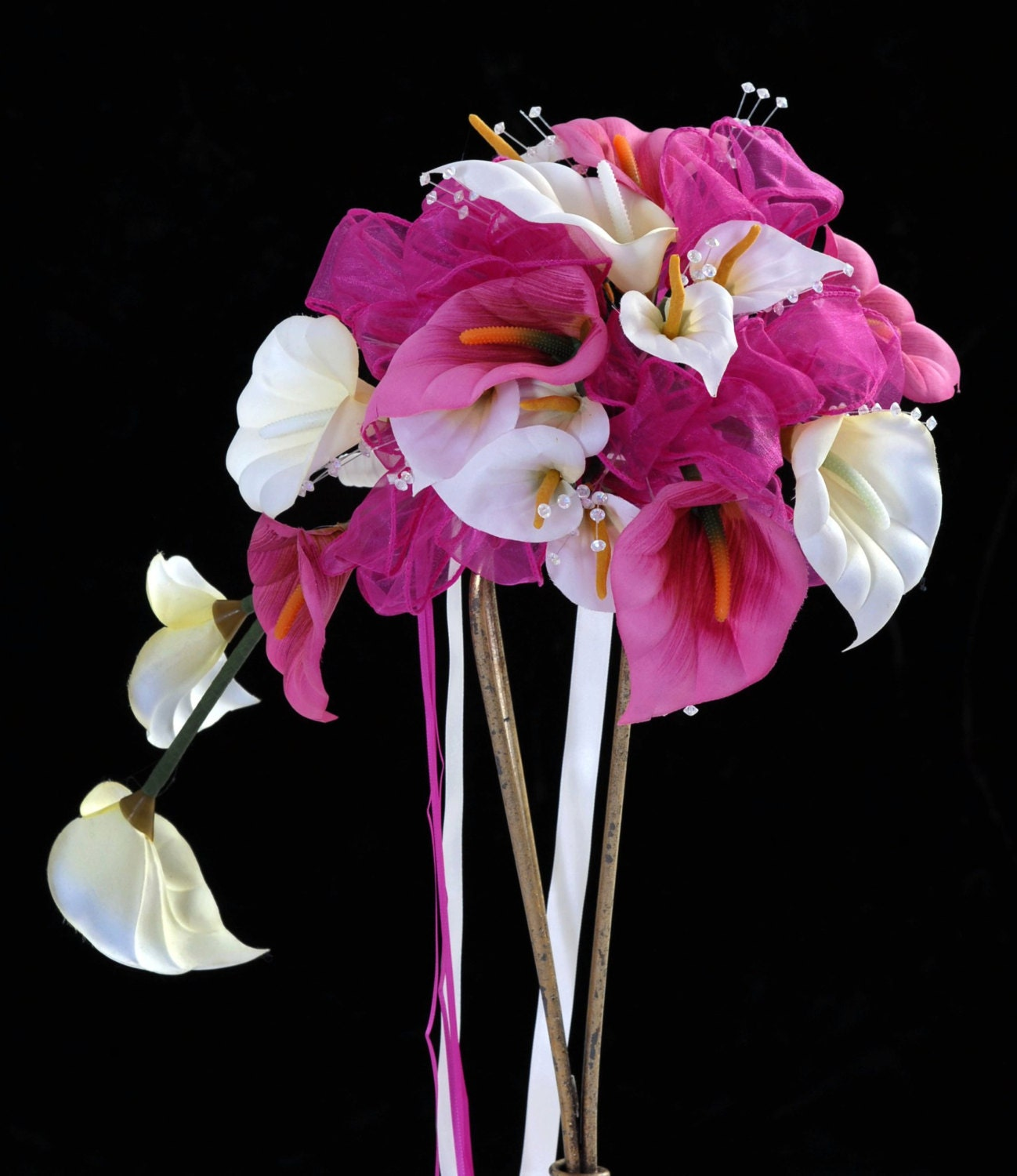 Lily Charm Hand Wired Hot Pink And Ivory Lily Tear Drop Bouquet And