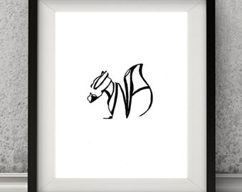 Personalized Squirrel Home Decor Art Print, Personalized Name animal.
