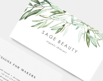 Olive business card etsy green watercolor leaves business card business card design sage green olive branch leaves minimal design typography herbs leaf 8 colourmoves