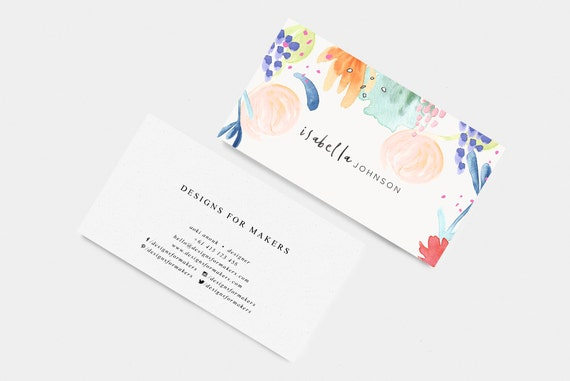 Watercolor Business Card Watercolor Flowers Bright Colors Etsy
