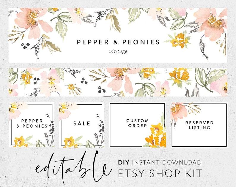 c671846f21b64 Etsy banners, Etsy branding kit, Etsy shop graphics, Cover image, Etsy shop  banner, Shop kit, Banner set, Shop icon, DIY banner template