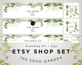 Etsy Store Banner, Watercolor Green Leaves, Store Graphics, Etsy Shop Banner Set, Avatar, Graphic Design, Shop Icon, Botanical Logo Set