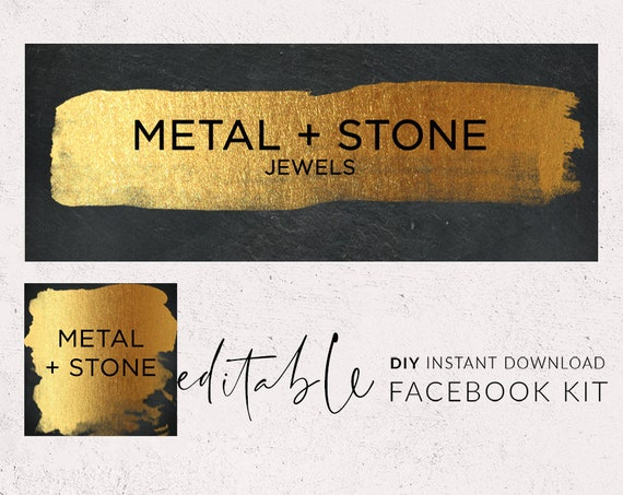 Gold Facebook cover, Facebook template, Modern logo, Facebook banner  template, Paint stroke Facebook banner, Facebook set, Black and gold